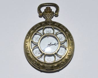 1 watch FOB 52x40x14mm engraved Daisy openwork bronze antique
