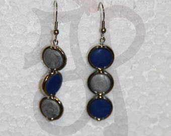Blue and silver circles earrings in polymer clay