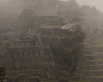 Travel Photography, Machu Picchu Photography, Digital Download, Rainy Machu Picchu, Peru Photo, Printable Wall Decor, Home Decor, Wall Art