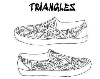 Triangle patterned hand painted canvas shoes