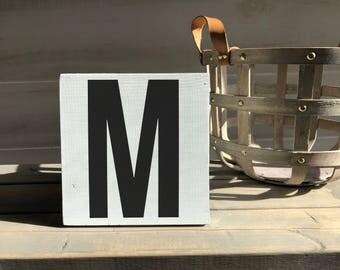 farmhouse-farmhouse sign-initial sign-M sign-initial decor-wood decor-wood sign-self sitting sign-shelf sitter
