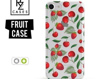 Cherry Phone Case, Summer Case, Strawberry Case, Fruit Phone Case, iPhone 7, iPhone 6, iPhone 7 Plus, iPhone 6 plus, Samsung Galaxy Case