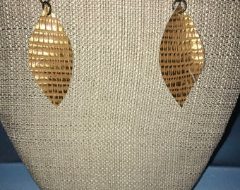 Embossed Leather Feather Earrings
