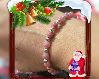 Pretty pink and silver glass Pearl elastic Bracelet
