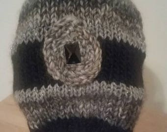 Knit Hat/Slouch/Beanie/ Handmade/ Female/Black/Gray tones/Silver Metalic threads/Warm/ Unique/Soft, Crystal bead/Wool /Acrylic/ Womans/Girl/
