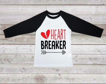 Valentine's Day Shirt, Heartbreaker Raglan, Heartbreaker Shirt, Boy Shirt, Toddler Boy Bodysuit, Toddler Boy T-Shirt, Boy Clothing, Shirt