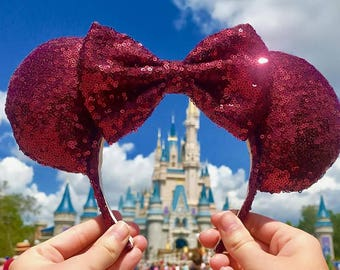 Wine Sequin Disney Inspired Minnie Mouse Ears