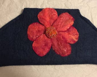 Navy felted clutch purse with flower in pink hues