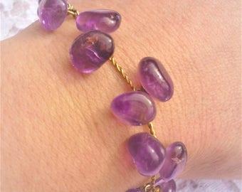 Adjustable bracelet, genuine Amethyst, gold chain