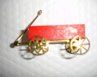 Miniature Red Wood Wagon