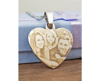 Photo Heart Necklace, Photo Necklace Heart, Necklace Heart Photo, Heart Photo Necklace, Heart Necklace, Heart Necklace With Photo Engraving