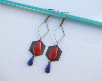 Earrings dark red and midnight blue sequins
