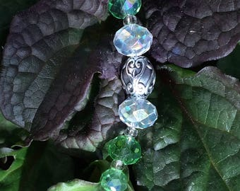 Sun catcher Suncatcher crystal prism 20mm cross floral silver-plated green clear faceted beads hanging zen feng shui