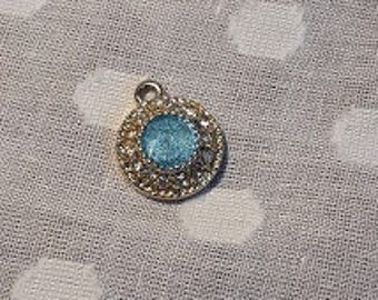 Circular diamante pendant with turquoise colour detail - charm - jewellery