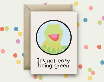 Kermit Pop Art and Quote A6 Blank Greeting Card with Envelope