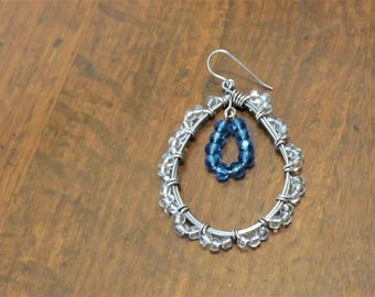 Stunning large blue crystal wire-wrapped teardrop hoops