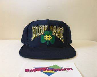 Vintage 1990s Notre Dame Fighting Irish Big Script Blue Top of the World Snapback Hat