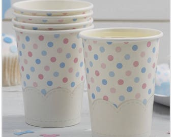 Paper Cups - Spotty Pink & Blue - Little Lady Or Mini Mister/baby shower/gender reveal