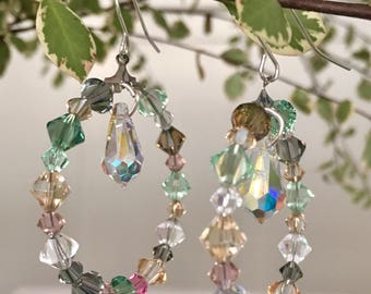 Crystal hoops with crystal drop