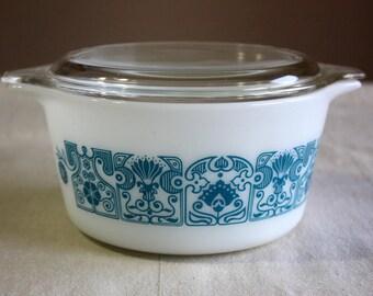 Vintage Pyrex Horizon Blue  #473 1 Qt Casserole Dish with Lid