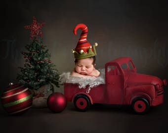 Christmas Newborn Baby Digital Backdrop Red Truck