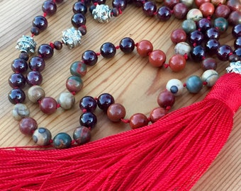 Hand Knotted Mala Beads - 108 bead gemstone mala necklace - Root Chakra Mala Necklace - Garnet Healing Crystal Chakra Mala