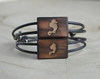 Ensemble Père Fille, Père Fils - Bracelet Bois Récupéré, Cuir et Argent - Hippocampe