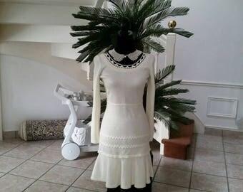 Ecru dress mesh jersey fancy crochet