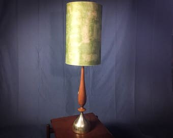 c1960's Frederick Cooper Mid Century Walnut and Brass Table Lamp