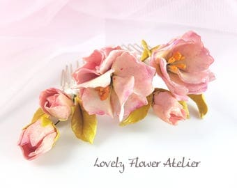 Hair comb for wedding with cherry blossoms porcelain cold modelėes and hand painted.