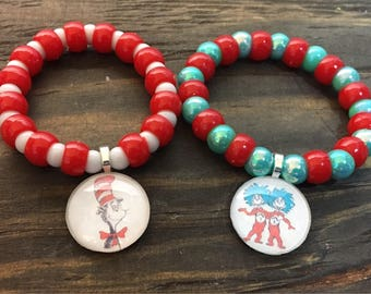 Cat in the hat bracelet party favors.Dr. Seuss party favors.Thing 1 & Thing 2 party favors.Baby shower gifts