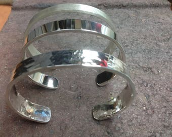 Bracelet silver, silver bracelet, silver cuff, cuff bangle, hammered finish open heavy cuff bangle, handmade sterling silver