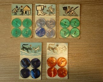 BUTTONS ON CARD: 5 CARDS OF 4 BUTTONS IMINACRE FABLES OF LA FONTAINE