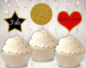 Printable Mini Wedding Cupcake Toppers, Printable Wedding Cupcake Topper, Instant Download