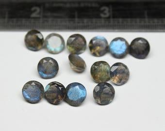 7X7 MM Natural Labradorite Faceted cut Round 14 PCs Flashy Fire 7 mm Labradorite loose semi- precious gemstones.