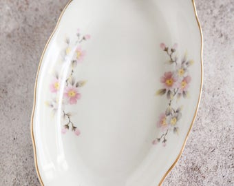 vintage oval dish with flowers and gold edge