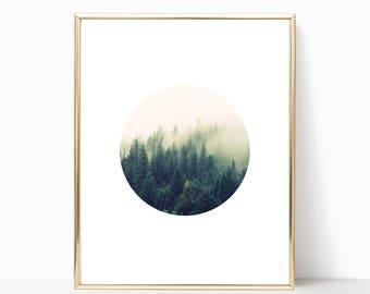 Forest Print, Circle Print, Forest and Fog, Nature Photography, Foggy Forest Print, Nature Art, Forest Art, Boho Print