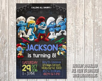 Smurf Invitation, Smurf Birthday, Smurf Party, Smurf card, Smurf printable, Smurf, Smurf Boy, Boy Invitation, Smurf Boy Invitation_BS066