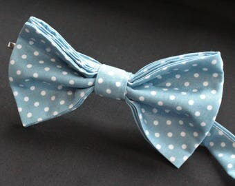 Bow Tie. UK Made. Light Blue White Polka Dot. Cotton. Premium Quality. Pre-Tied.