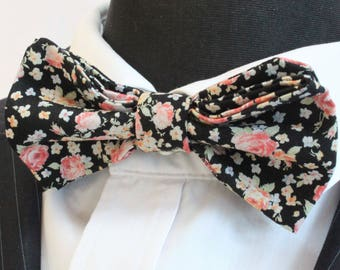 Bow Tie. UK Made. Black Ditsy Floral. Cotton. Premium Quality. Pre-Tied.