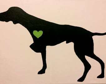 German Shorthaired Pointer Silhouette w/ Heart