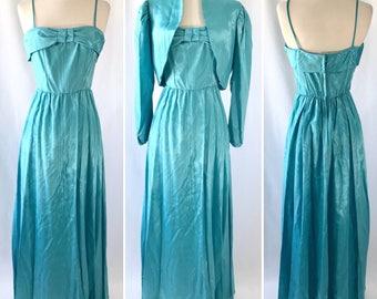 Aqua 1950s Bridesmaid Dress Set | Vintage House of Bianchi | Formal 2-Piece Dress Set | Wedding Party | Vintage Clothing