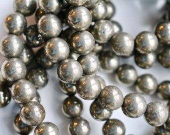 8mm Pyrite beads, grade A, full strand, natural stone beads, round, 80048