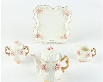 Rose Relief Porcelain Tea Set