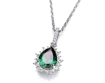 "Sterling Silver Emerald Pear Cut & Cluster Surround Cz Teardrop 16""-18"" Necklace"