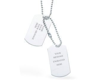 "Double Dog Tags 925 Sterling Silver 24"" Necklace - Personalised Name & Message"
