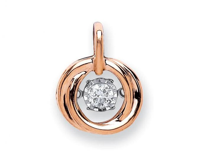 9ct Rose Gold Dancing 0.10ct Solitaire Diamond Cricle Pendant