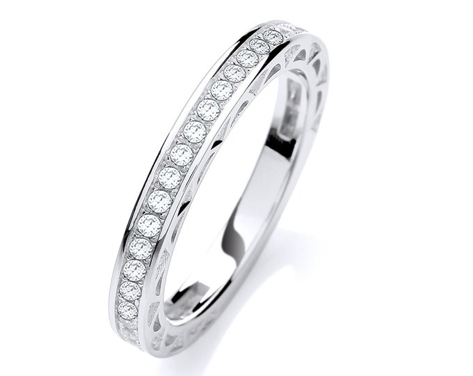 Sterling Silver 3/4 Pave Cz Channel Set Eternity Ring Hallmarked