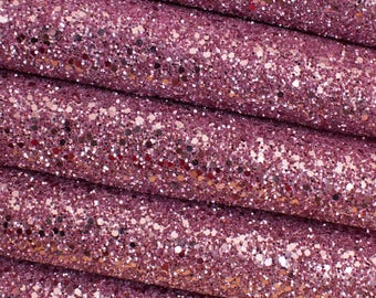 Dusty Rose Chunky Glitter Fabric Sheet Premium Quality