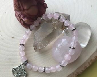 Lotus rose quartz gemstone bracelet